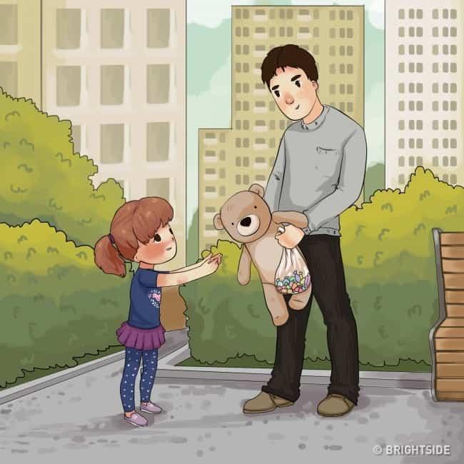 Cho trẻ quà hoặc đồ chơi